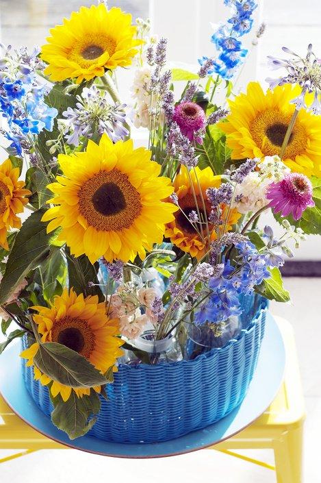 gemengd zonnebloemboeket - plantplezier -