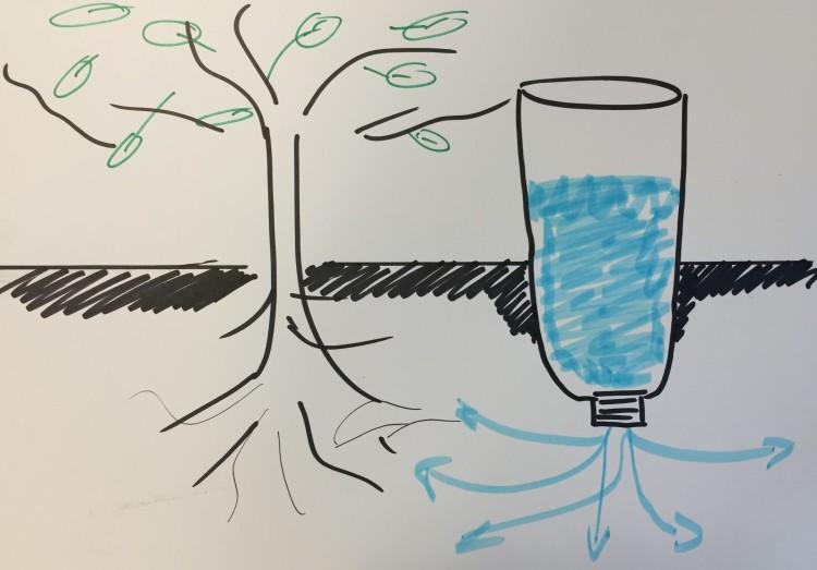 Petfles watergeefsysteem
